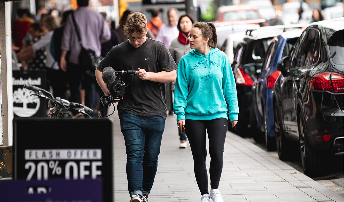 Jazz & James out and about filming
